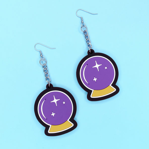 Crystal Ball 3D Silicone Earrings - Witch - Goth - Nu Goth - Witch Worldwide