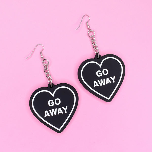 Go Away Heart 3D Silicone Earrings - Witch - Goth - Nu Goth - Witch Worldwide