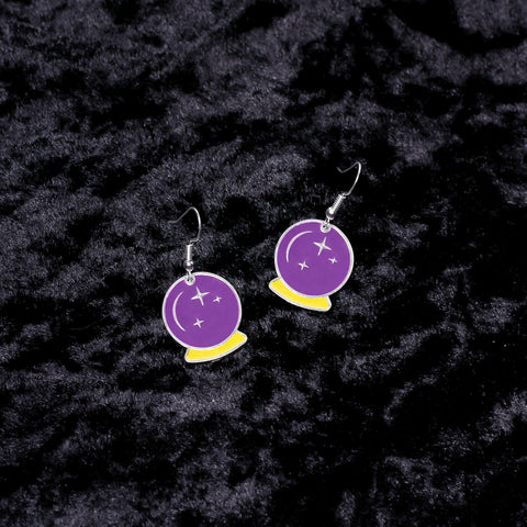 Crystal Ball Charm Earrings - Witch - Goth - Nu Goth - Witch Worldwide