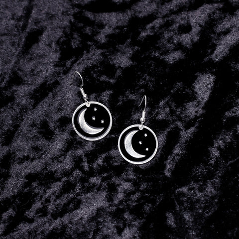 Moon & Stars Charm Earrings - Witch - Goth - Nu Goth - Witch Worldwide