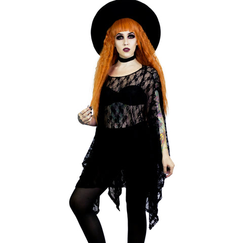 Black Lace Oversized Tunic Top for Witchy Magical Women