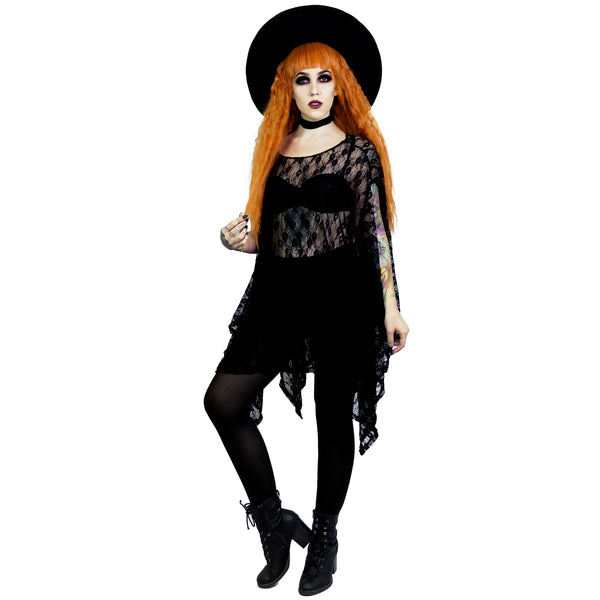 Black Lace Oversized Tunic Top Gothic Clothing Magical Girl Clothes Boho