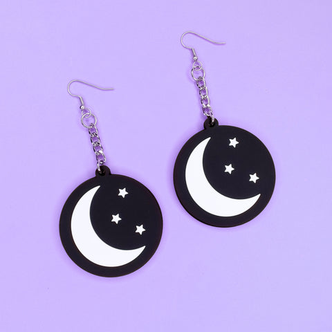 Moon & Stars 3D Silicone Earrings - Witch - Goth - Nu Goth - Witch Worldwide
