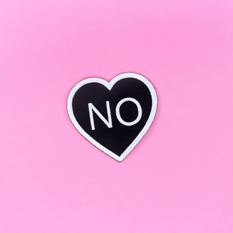 No Heart Black Iron-On Patch - Witch - Goth - Nu Goth - Witch Worldwide