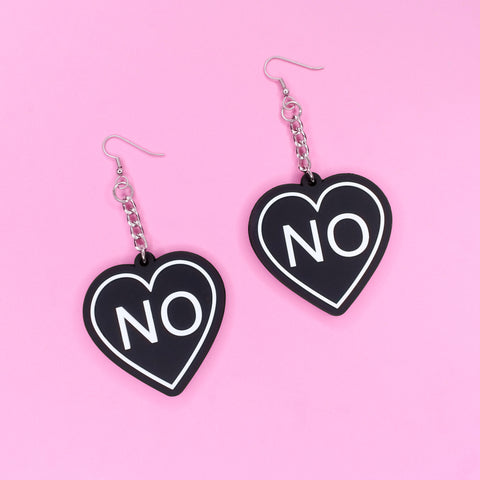No Heart 3D Silicone Earrings - Witch - Goth - Nu Goth - Witch Worldwide