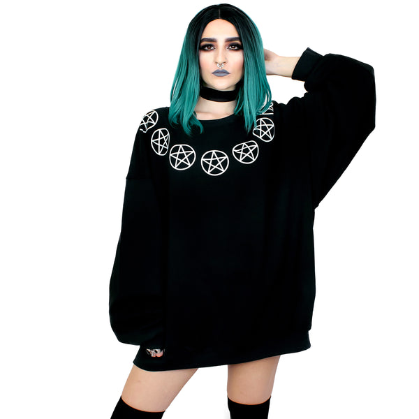 Seven Pentacles Oversized Sweatshirt - Witch - Goth - Nu Goth - Witch Worldwide