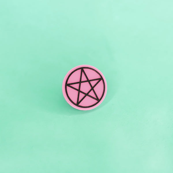 Pentacle Pin Pink - Witch - Goth - Nu Goth - Witch Worldwide