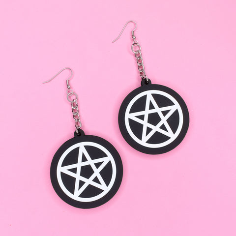 Pentacle 3D Silicone Earrings - Witch - Goth - Nu Goth - Witch Worldwide