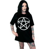 Pentacle Oversized Tee Shirt - Witch - Goth - Nu Goth - Witch Worldwide