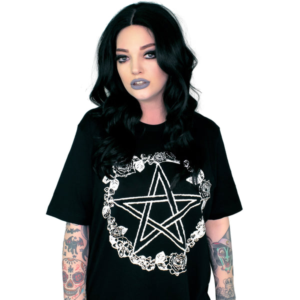 Rose & Pentacle Oversized Tee Shirt