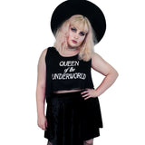 Queen Of The Underworld Crop Tank - Witch - Goth - Nu Goth - Witch Worldwide