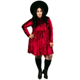 Burgundy Velvet Empress Dress - Plus Size 2X 3X 4X Goth Witch Moon Gothic Magical Empire Smock Babydoll Dress