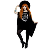Rose and Pentacle Oversized Tunic Top Plus Size Drape Batwing Goth Witchy Clothes