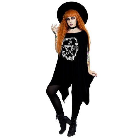 Rose and Pentacle Oversized Tunic Top Witchy Woman Wicca Pagan Wiccan Pentagram