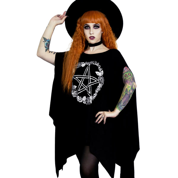 Rose and Pentacle Oversized Tunic Top Gothic Clothing 2X 3X 4X
