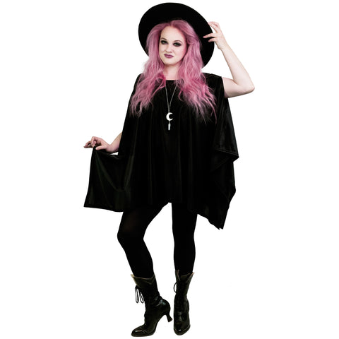 Black Lyrca Oversized Tunic Top