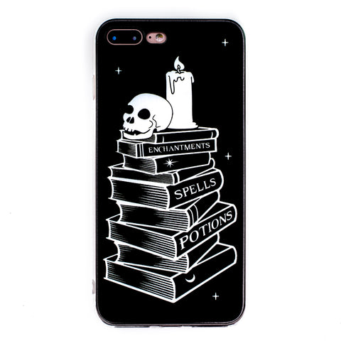 Spell Books iPhone Case 6 6s 6+ 7+ 7s 8s 8+ Witch Spells Magic Skull Phone Case