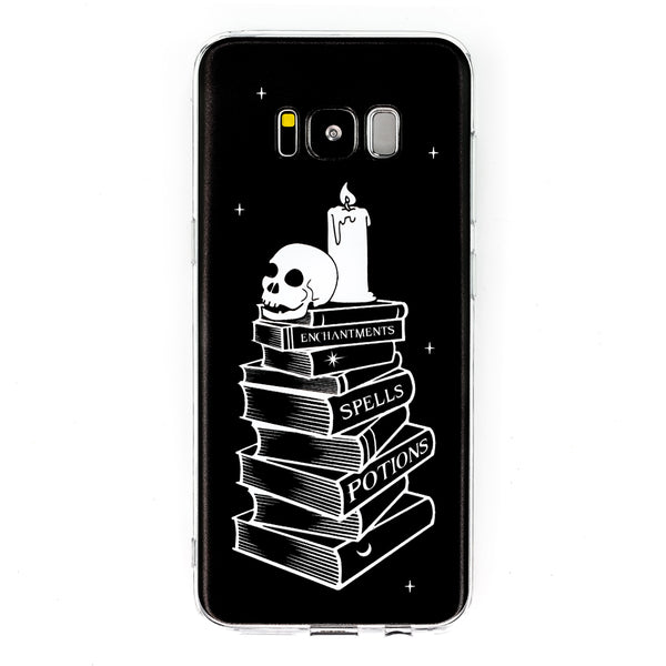 Spell Books Samsung Galaxy Case S7 S7 Edge S8 S8+ Witch Spells Magic Skull Phone Case