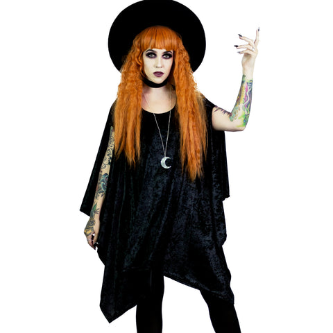 Oversized Black Velvet Tunic Top Witchy Goth Clothes Moon Necklace