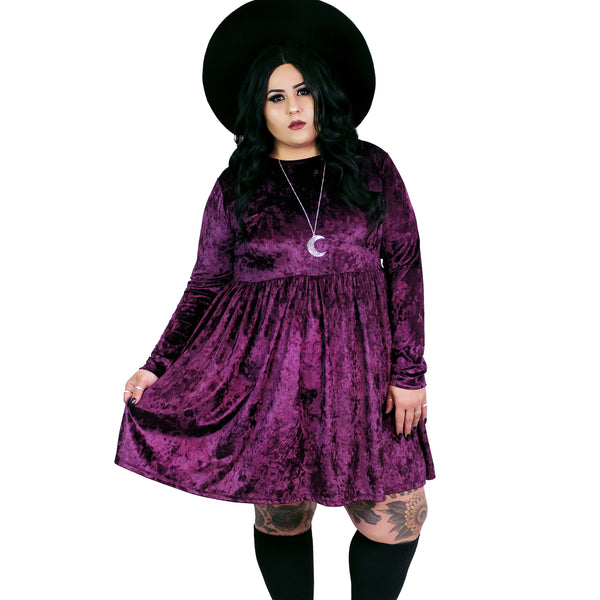 Violet Velvet Empress Dress - Plus Size 2X 3X 4X Goth Witch Moon Gothic Magical Empire Smock Babydoll Dress