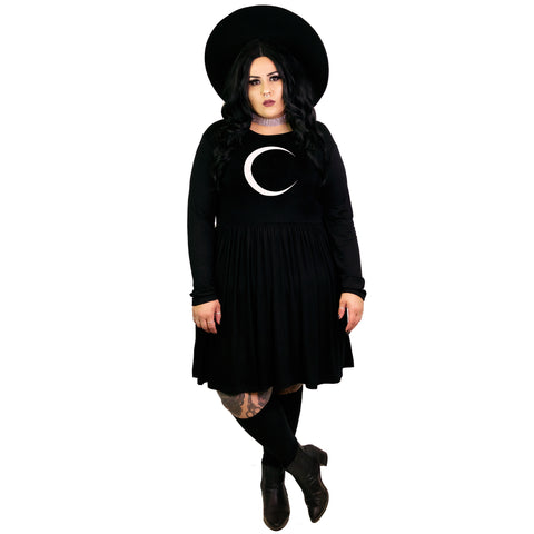 Waning Moon Empress Dress - Plus Size 2X 3X 4X Goth Moon Cycle Crescent Spells Pagan Witchy Empire Smock Babydoll Dress