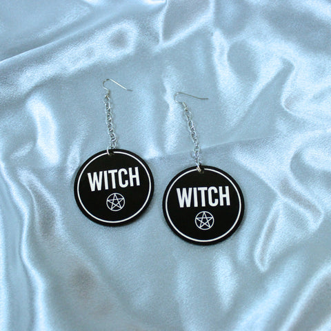 Witch Letters Acrylic Earrings - Witch - Goth - Nu Goth - Witch Worldwide