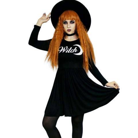 Witch Moon Empress Dress - Goth Witchcraft Spells Pagan Wicca Witchy Empire Smock Babydoll Dress