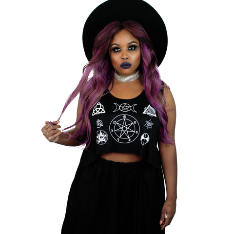 Witch Symbols Crop Tank