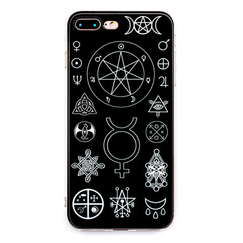 Witch Symbols iPhone Case 6 6s 6+ 7+ 7s 8s 8+ Magic Witchcraft Pagan Triquetra Triple Moon Goth Phone Case