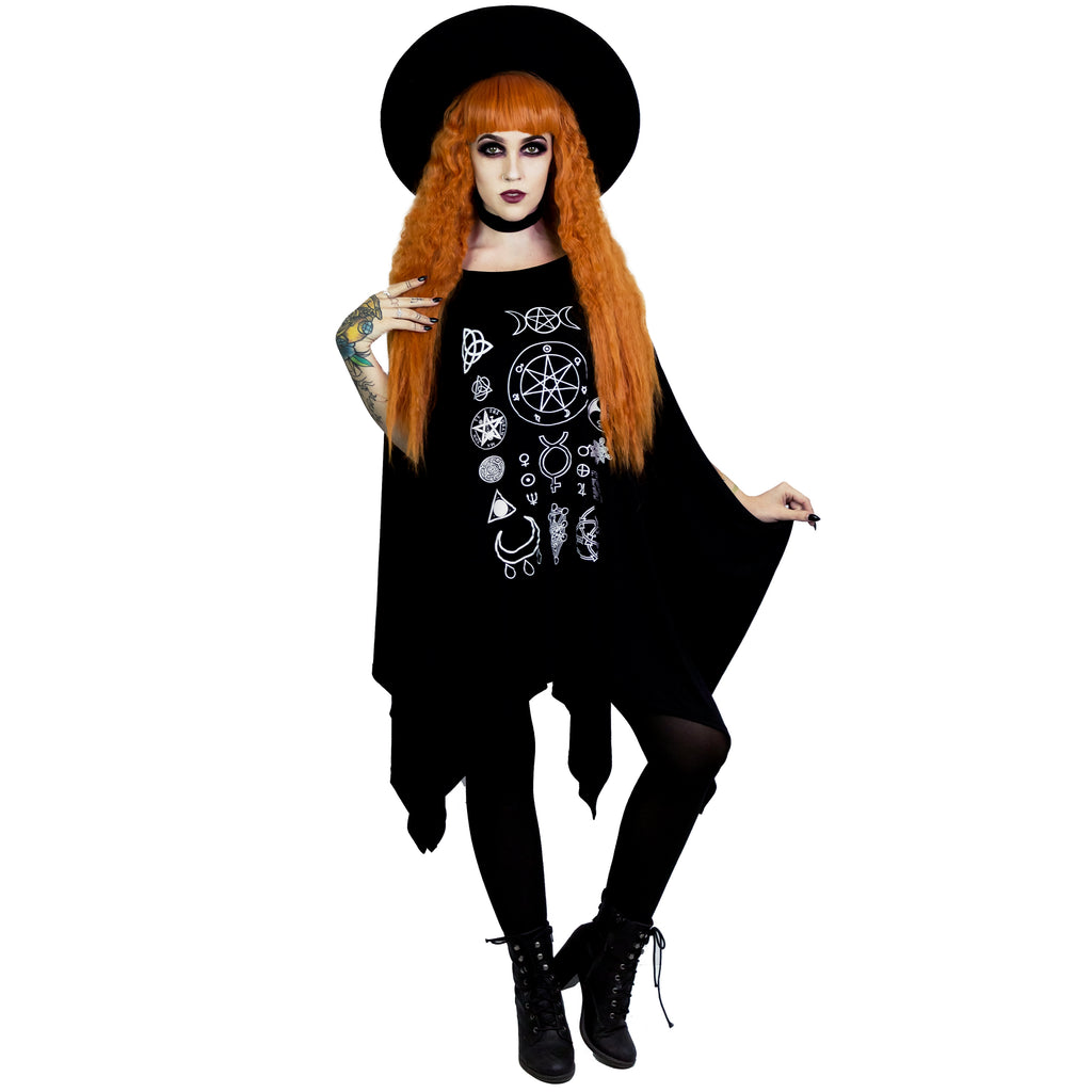 Witch symbols oversized tunic top witch worldwide goth witch symbols oversized tunic top goth gothic clothing clothes buycottarizona