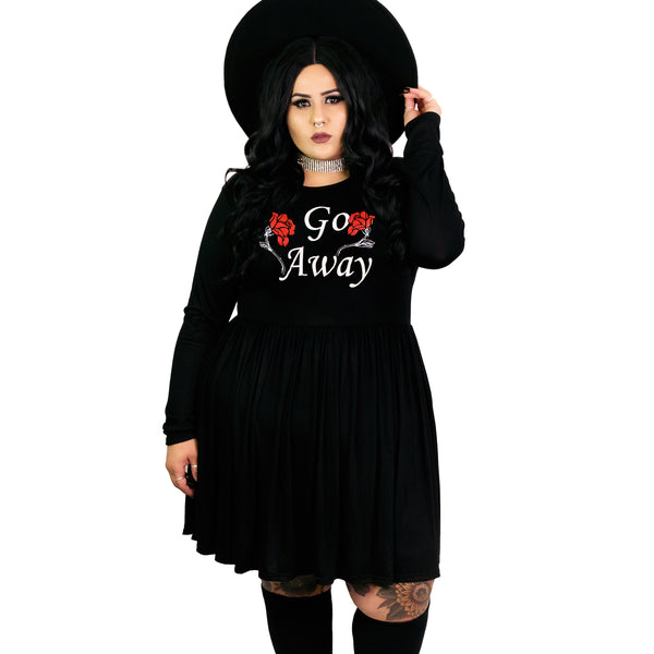 Go Away Empress Dress - Plus Size 2X 3X 4X Goth Red Roses Coffin Dark Haunted Gothic Empire Smock Babydoll Dress