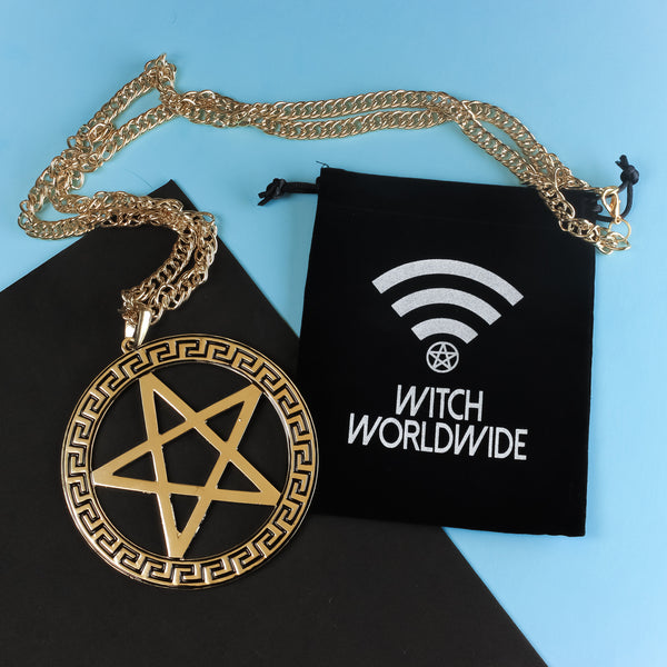 Medusa Pentacle Gold Necklace - Witch - Goth - Nu Goth - Witch Worldwide