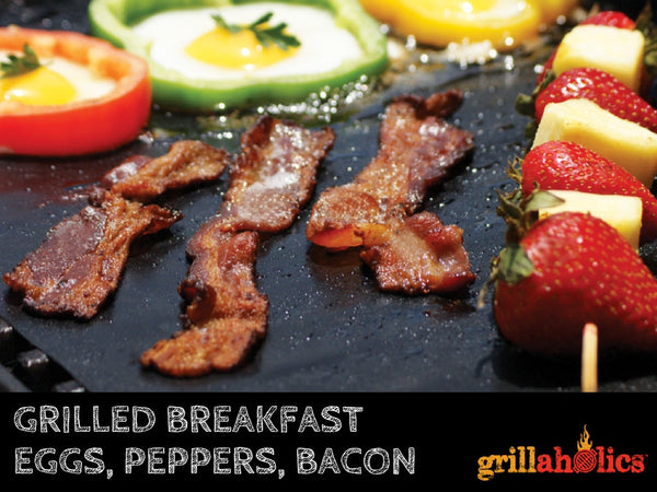grilled breakfast- eggs with peppered bacon