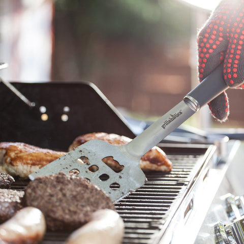 Image of Grillaholics Grill Tools [Grill Tongs, Fork, Basting Brush, Spatula]