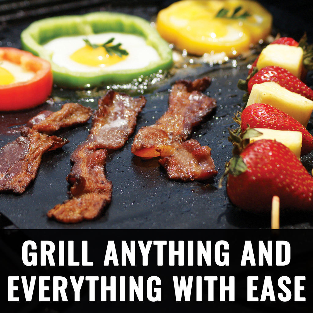 Grillaholics Grill Mat - Heavy Duty BBQ Grill Mat - Set of 2 Non Stick, Reusable, and Easy to Clean Grill Sheets