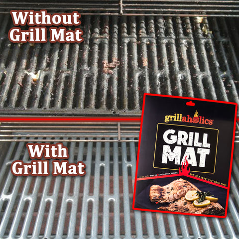 Image of Grillaholics Grill Mat - Heavy Duty BBQ Grill Mat - Set of 2 Non Stick, Reusable, and Easy to Clean Grill Sheets