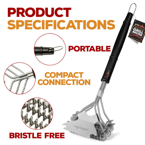 Grillaholics Bristle Free Grill Brush | Non Wire BBQ Brush for Cleaning Grill Grates