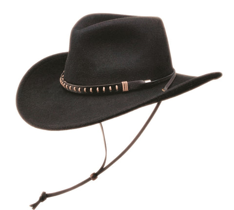Black Creek Avon Crushable Wool  Outback Hat with Chincord - Cowboy Hats and More