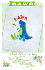 RAWR Applique Quilt Pattern - brewstitched.com