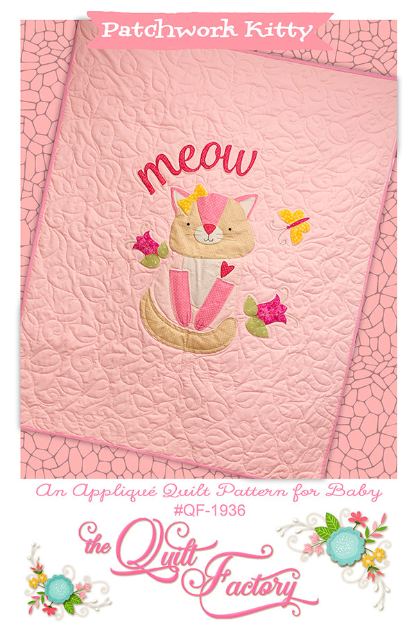 Patchwork Kitty Applique Quilt Pattern
