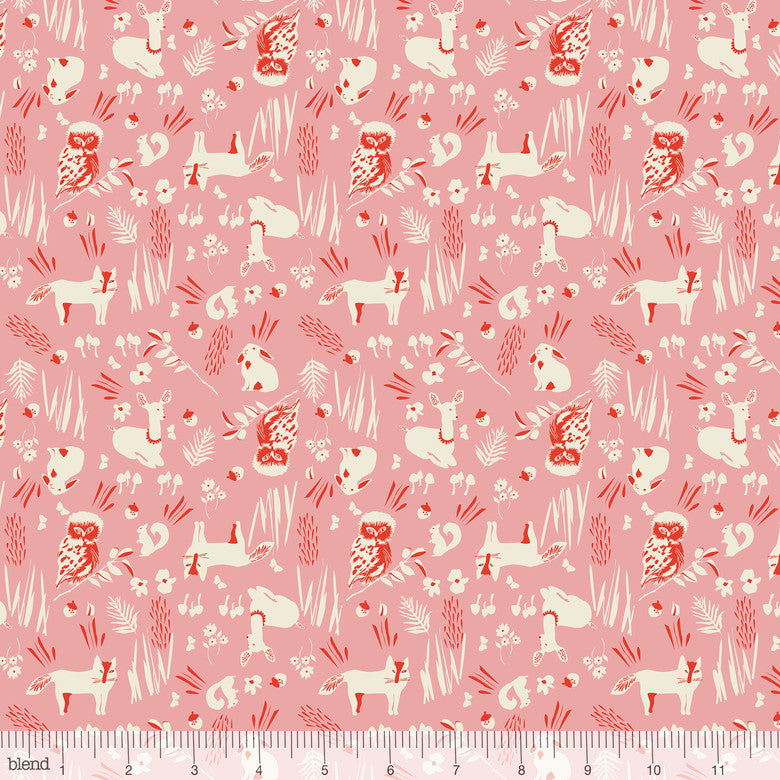 Enchanted Forest Friends Pink - Priced by the Half Yard - brewstitched.com