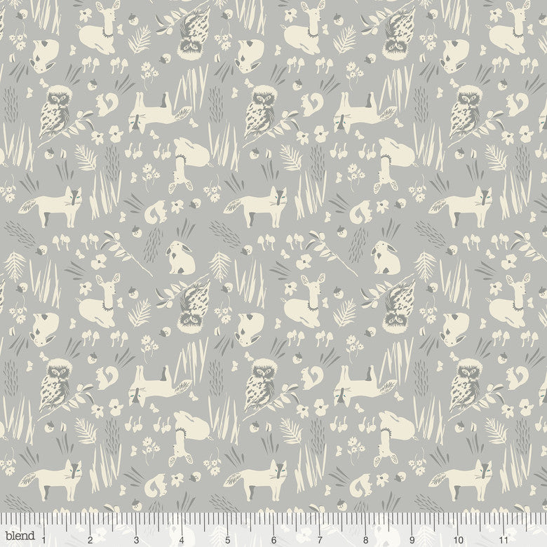 Enchanted Forest Friends Grey - Priced by the Half Yard - brewstitched.com