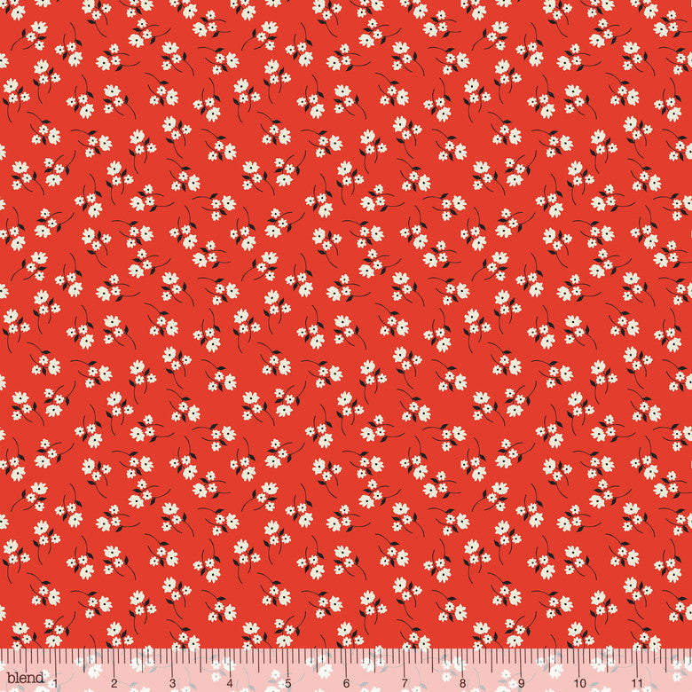 Enchanted Posy Red - Priced by the Half Yard - brewstitched.com
