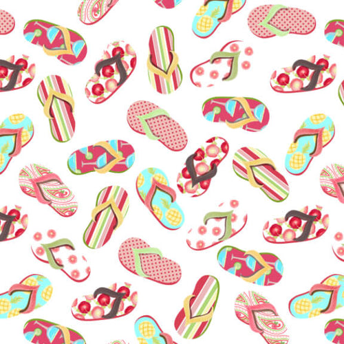 Let's Flamingle Flip Flops - Priced by Half Yard - brewstitched.com