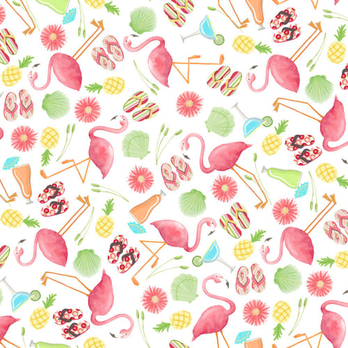Let's Flamingle Tossed Motifs - Priced by Half Yard - Expected Jan 2020 - brewstitched.com