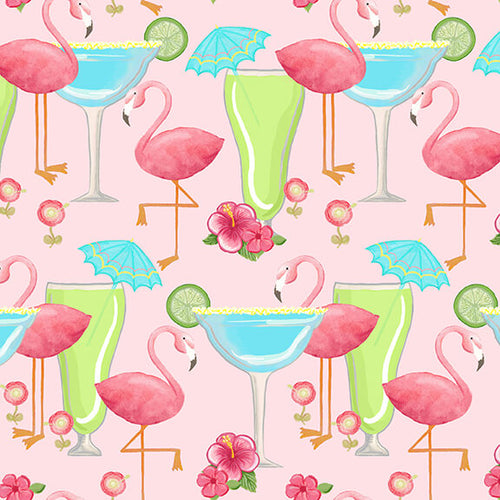 Let's Flamingle Flamingos and Cocktails - Priced by Half Yard - Expected Jan 2020 - brewstitched.com