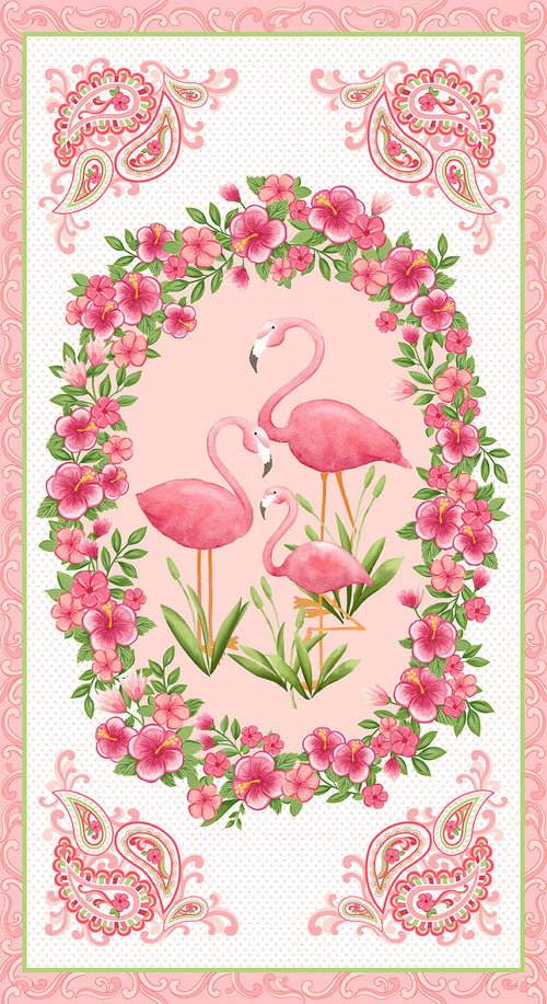 "Let's Flamingle Flamingo - 24"" Panel - Expected Jan 2020 - brewstitched.com"