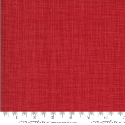 Juniper Linen Texture in Cardinal - Priced by the Half Yard - brewstitched.com