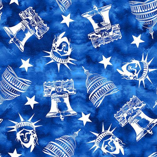 One Land One Flag Patriotic Icons Blue - Priced by half yard - Expected Jan 2021 - brewstitched.com