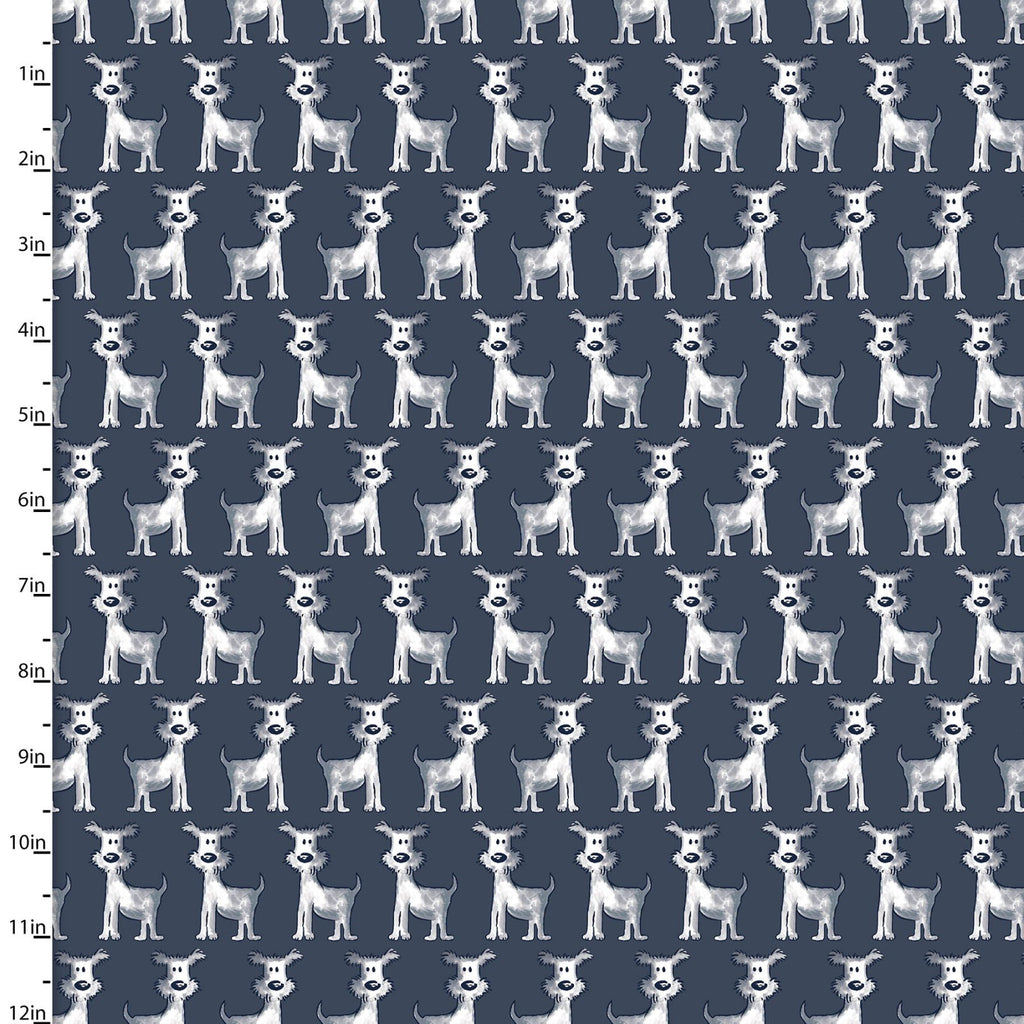 Poochie McGruff Flannel Dogs on Navy - Priced by the Half Yard - Coming Sept 2020 - brewstitched.com